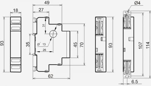 Габаритные размеры реле РТ-40У