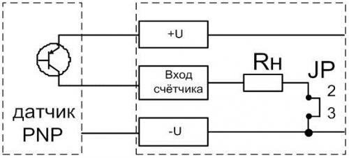 Подключение датчика типа PNP к СИМ-05т-3-17