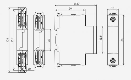 Габаритные размеры ВАР-М01 63А/450В