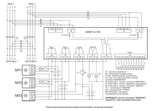 Схема подключения нагрузки автоматическими выключателями с моторными приводами МАВР-3-21М