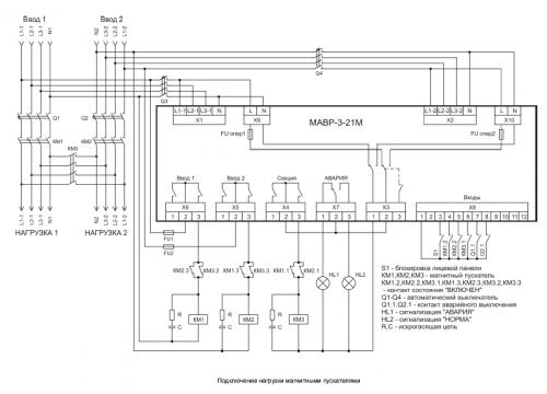 Схема подключения нагрузки  магнитными пускателями МАВР-3-21М
