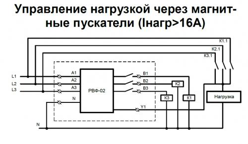 Схема подключения РВФ-02 - управление нагрузкой через магнитные пускатели (Iнагр>16А)