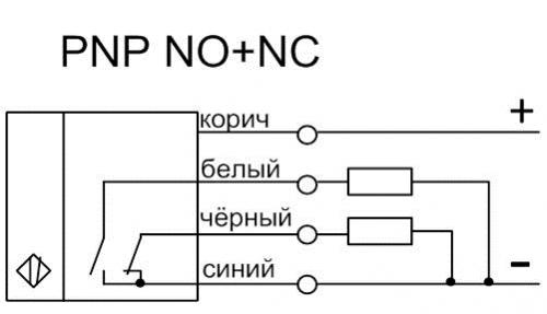 Схема подключения датчика ВИКО-Р PNP NO+NC