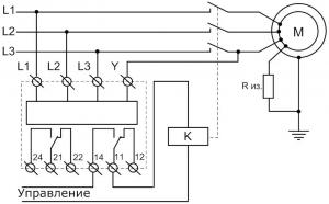 Схема подключения РКФ-М08 с заземлённой нейтралью