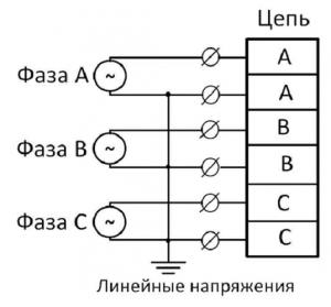 Схема подключения ВР-М03 линейные напряжения