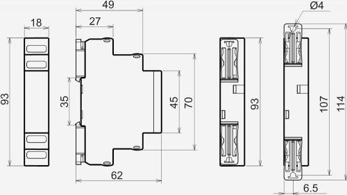 Габаритные размеры реле в корпусе 18*93*62мм